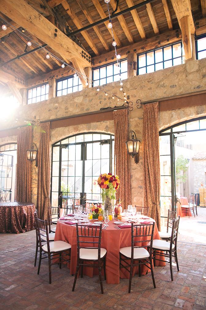 The ballroom at Silverleaf Club set for a wedding
