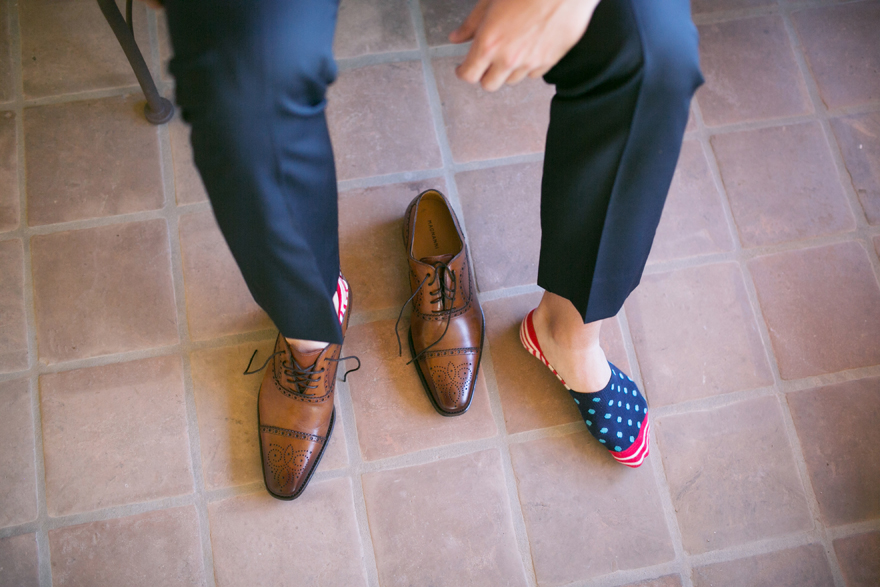 Stylish brown leather semi-brogue Oxfords and quirky socks
