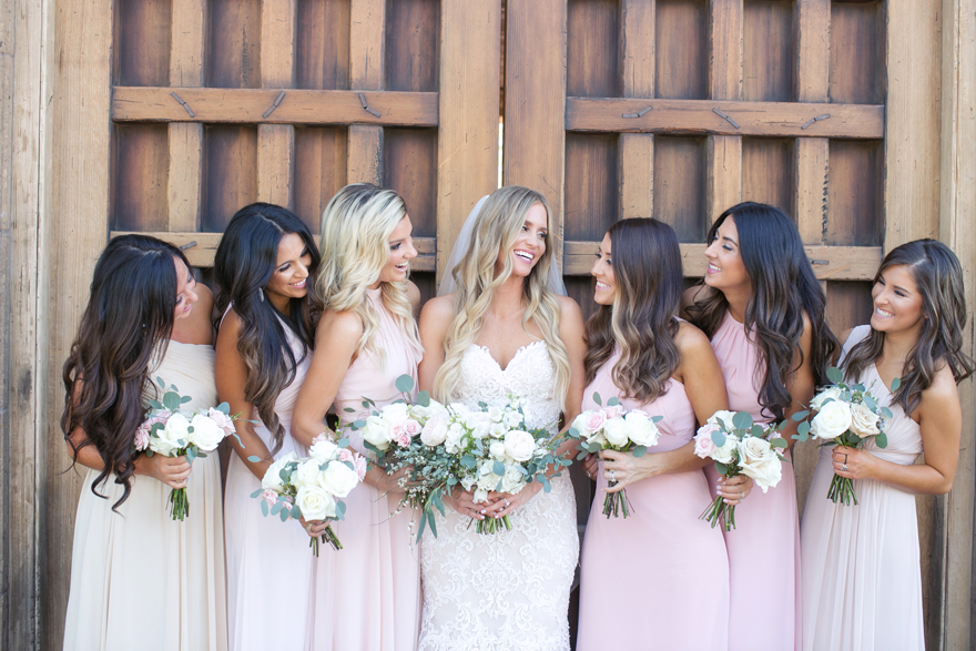 Bridal party in pink and blush