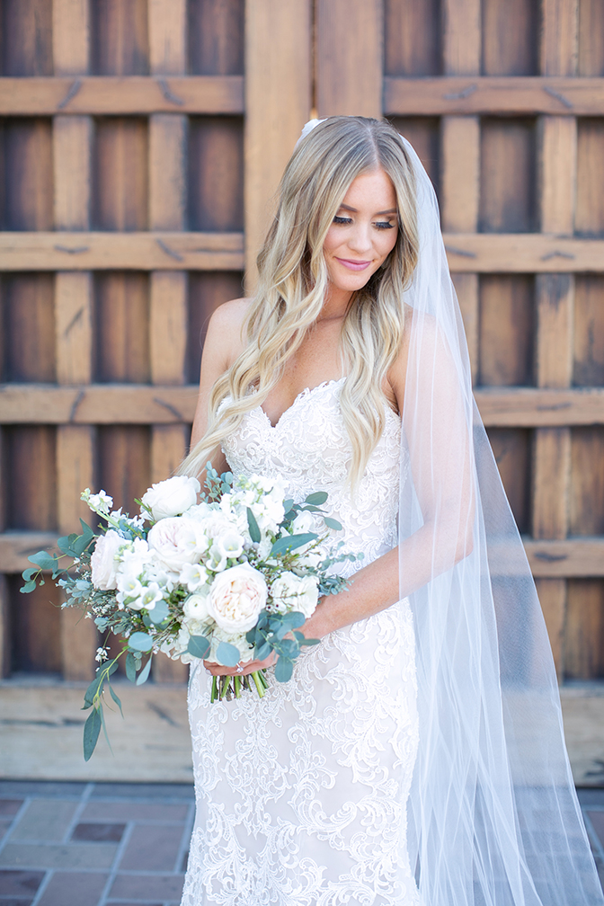 Lace wedding dress with a sweetheart neckline