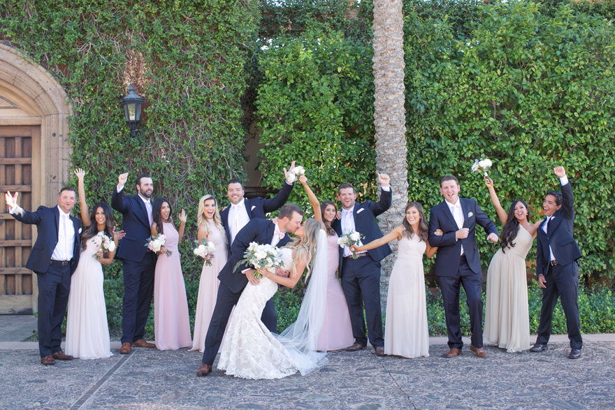 Bridal party in navy blue and pale pink