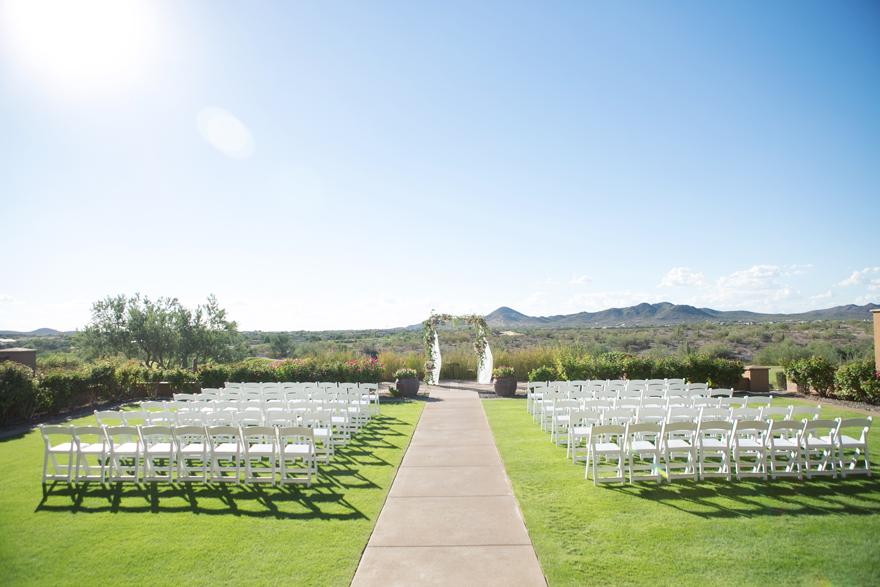 Outdoor wedding ceremony overlooking the desert