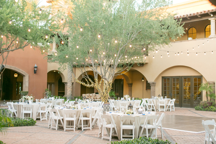Courtyard reception with lanterns and palo verde