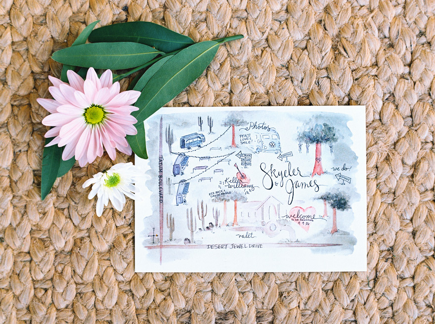 watercolor map for wedding guests