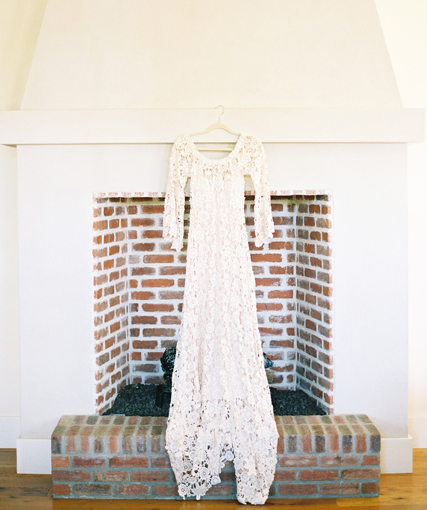 long sleeved, off-the-shoulder bohemian lace wedding dress