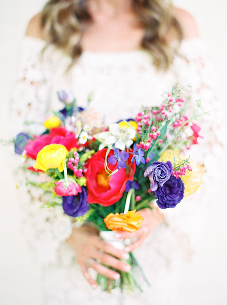 colorful bridal bouquet for a spring wedding