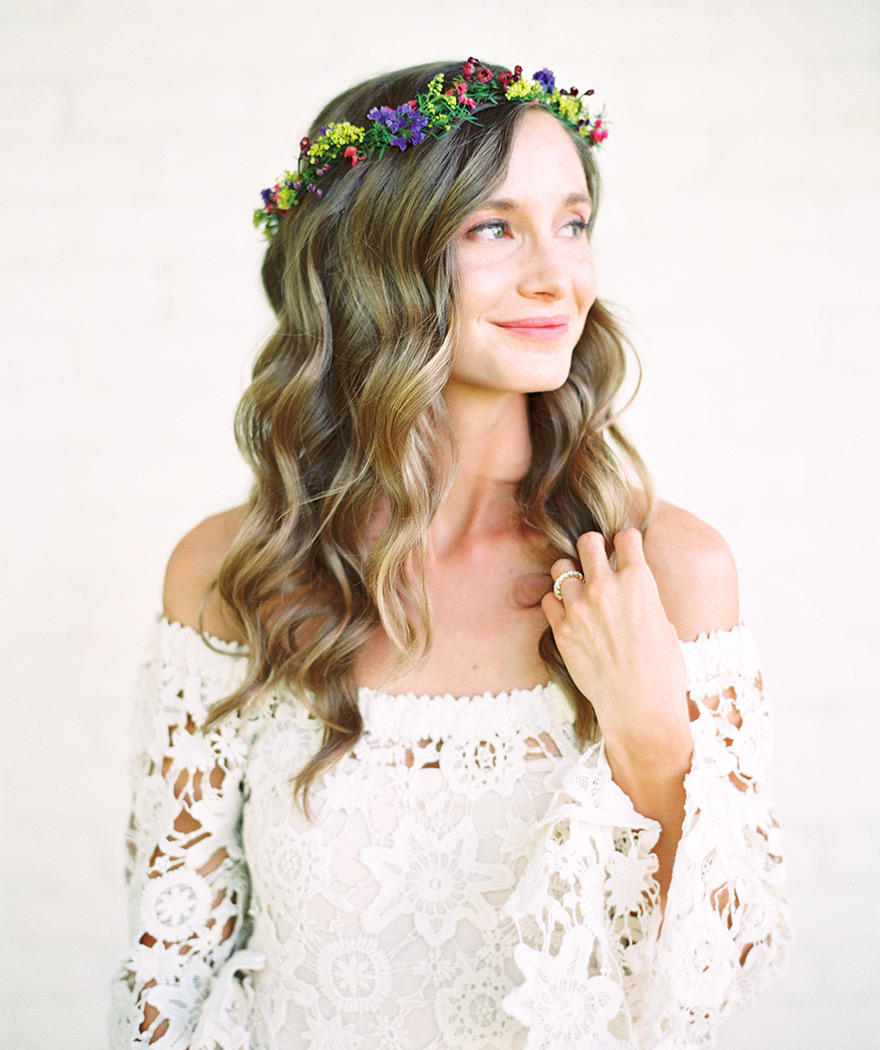 bride in a delicate flower crown for a bohemian wedding