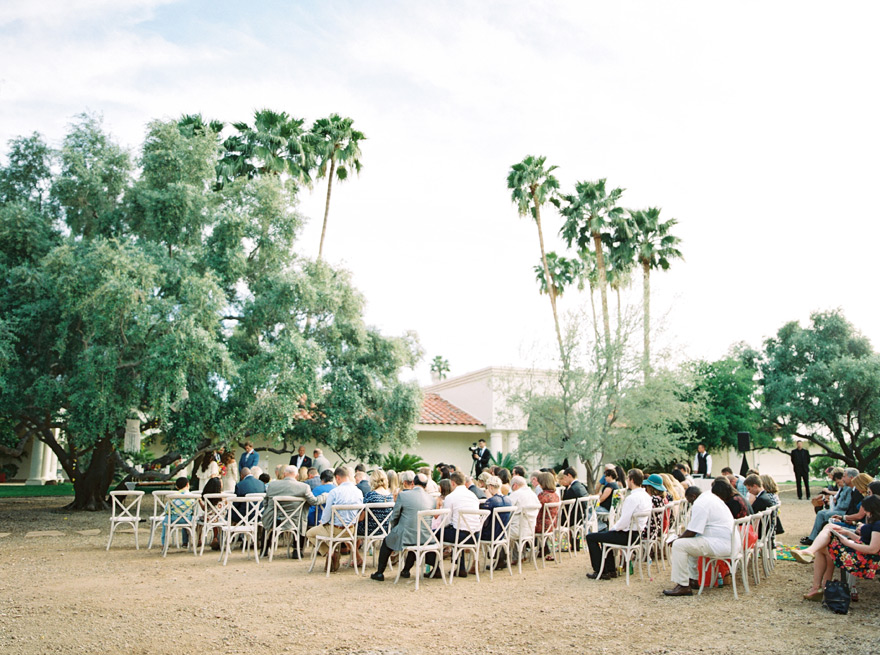 cross-back wood chairs for a wedding ceremony