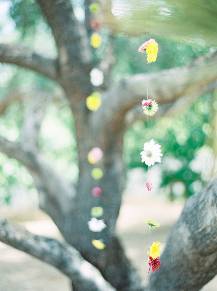 hanging flower decor for a bohemian wedding