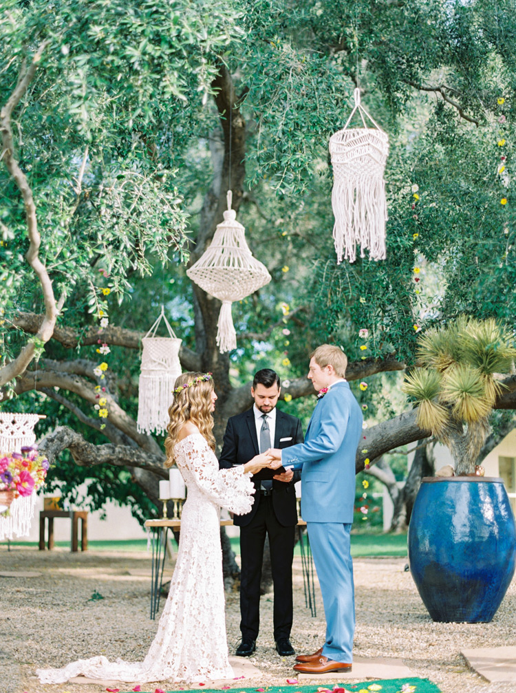 macrame chandeliers for a bohemian wedding