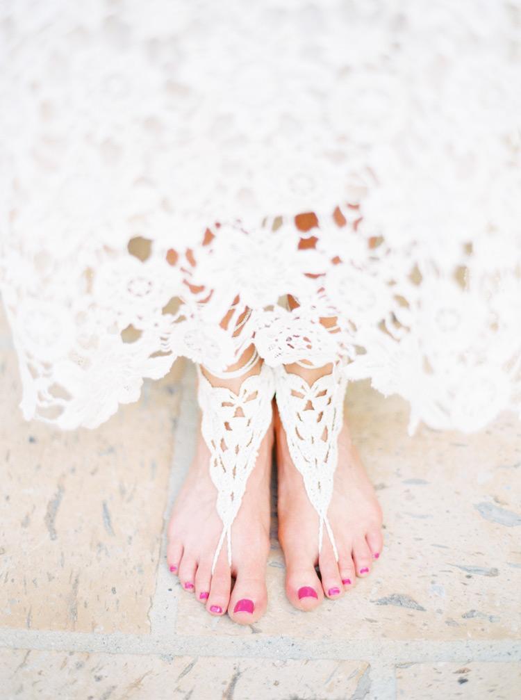 macrame bridal footwear
