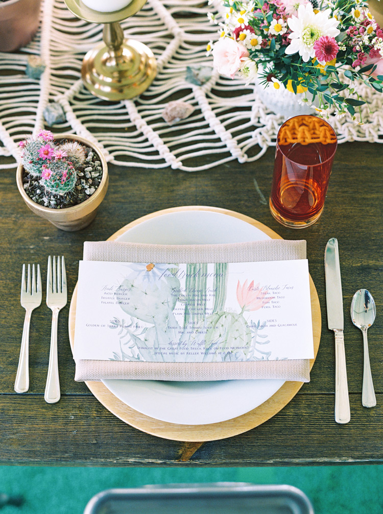 southwest bohemian wedding table setting with macrame table runner