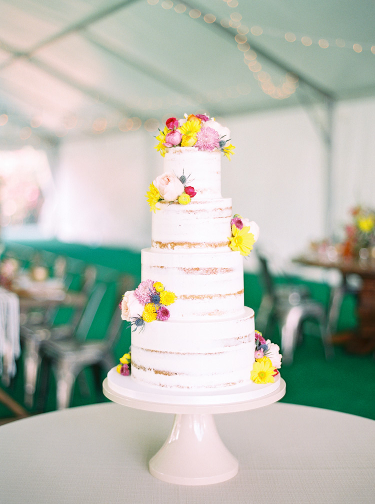 semi-naked cake with spring flowers