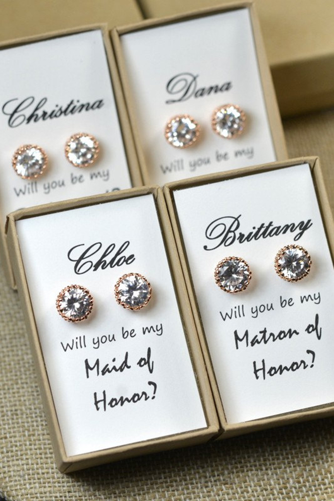 Personalized bridal earrings set for bridesmaids gift.