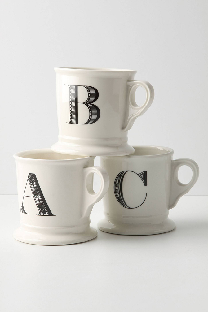 White coffee mugs for bridesmaids with letter of name.