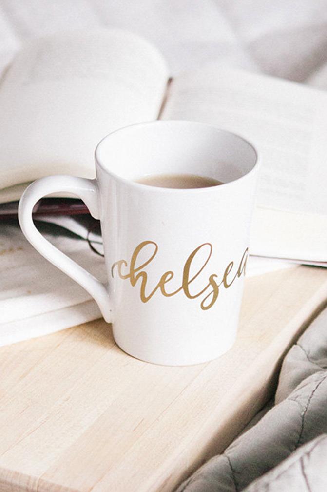 Custom white and gold mug for bridesmaid.