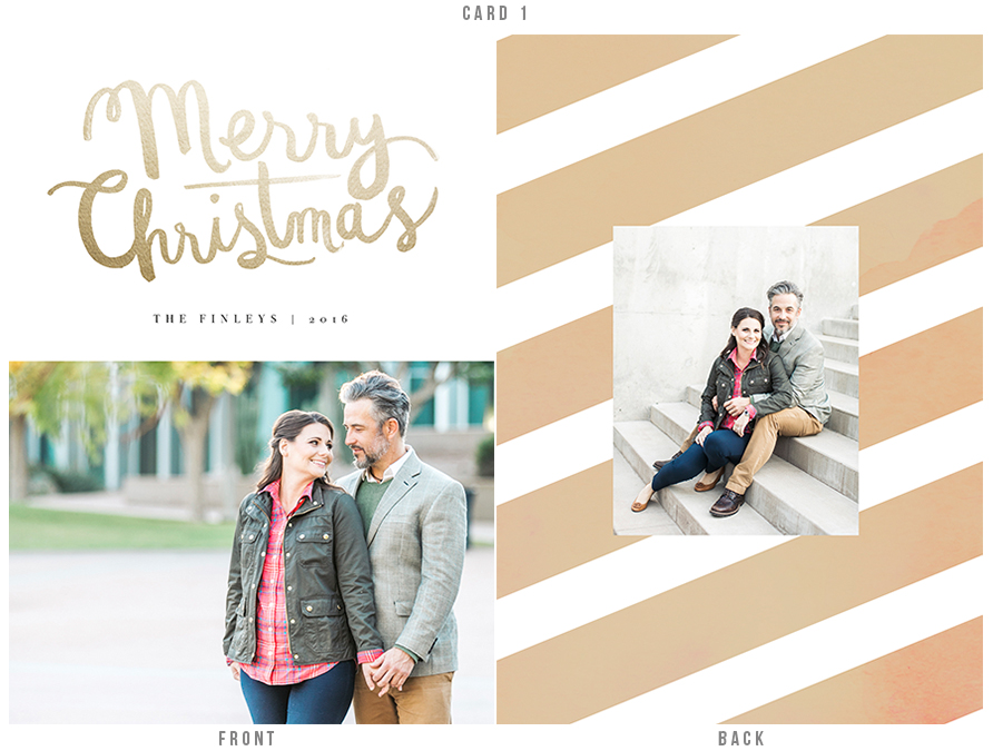 Classy holiday card in gold tones