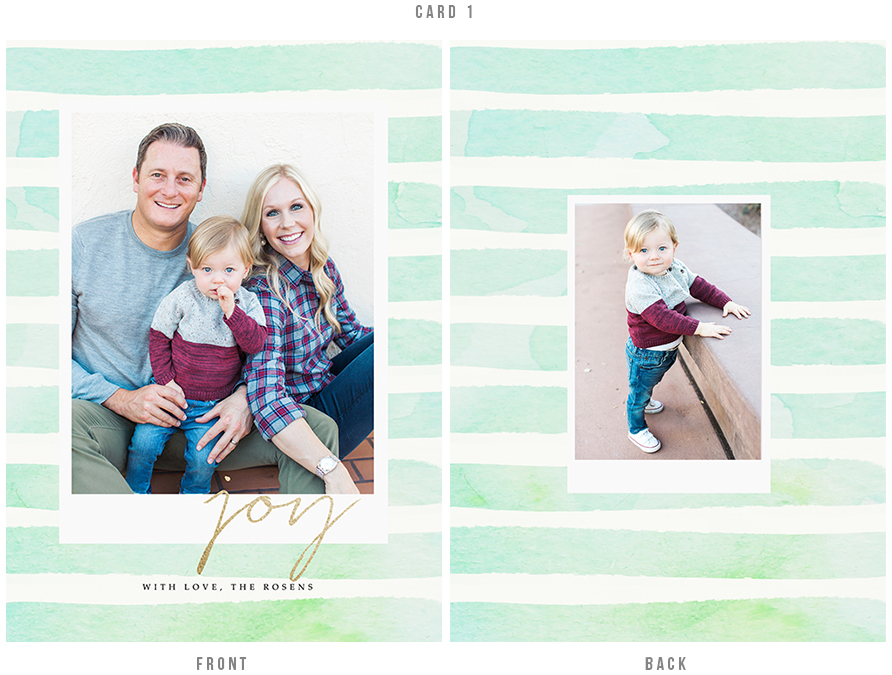 Holiday card design with watercolor stripes