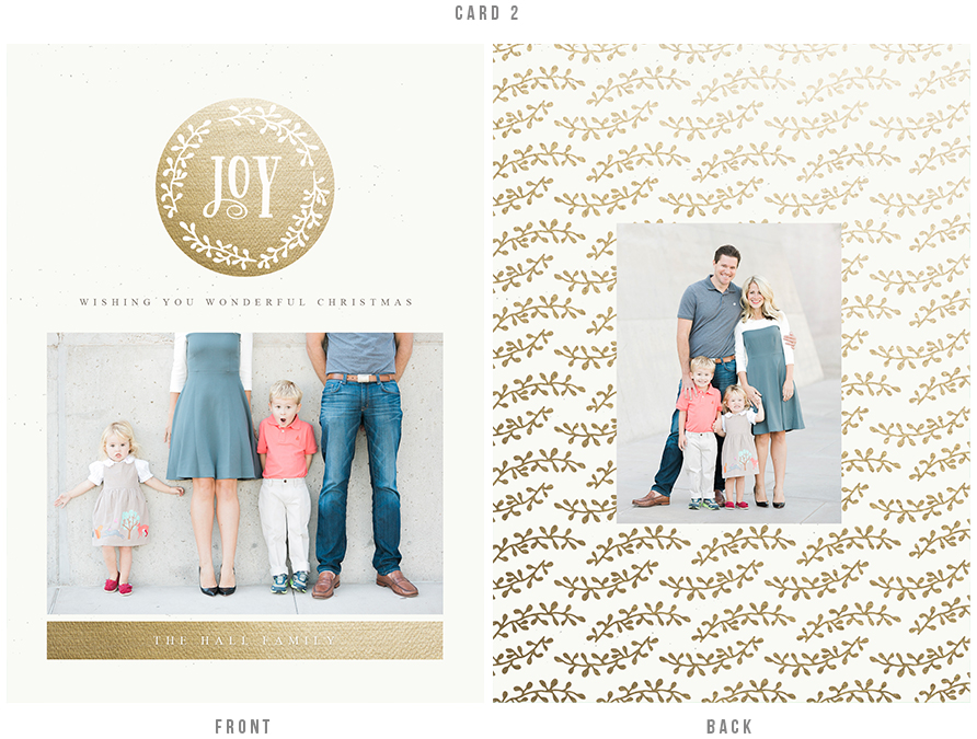 holiday card design with gold botanical elements