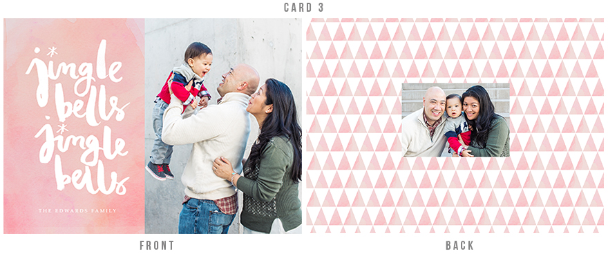 holiday card design with watercolor geometric elements