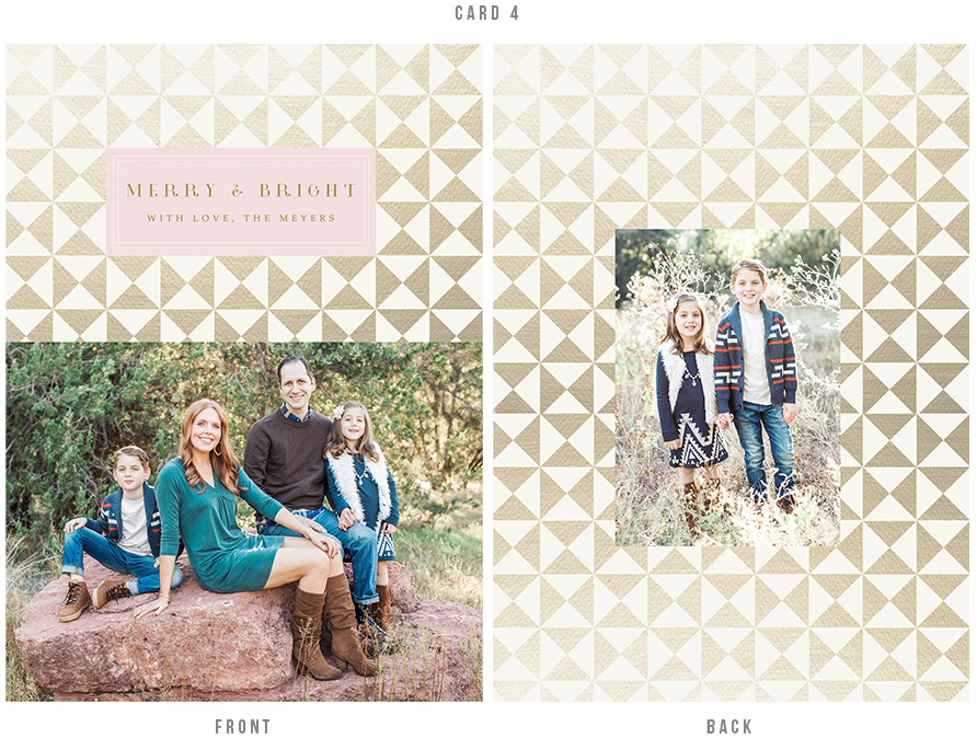 holiday card design with gold geometric elements