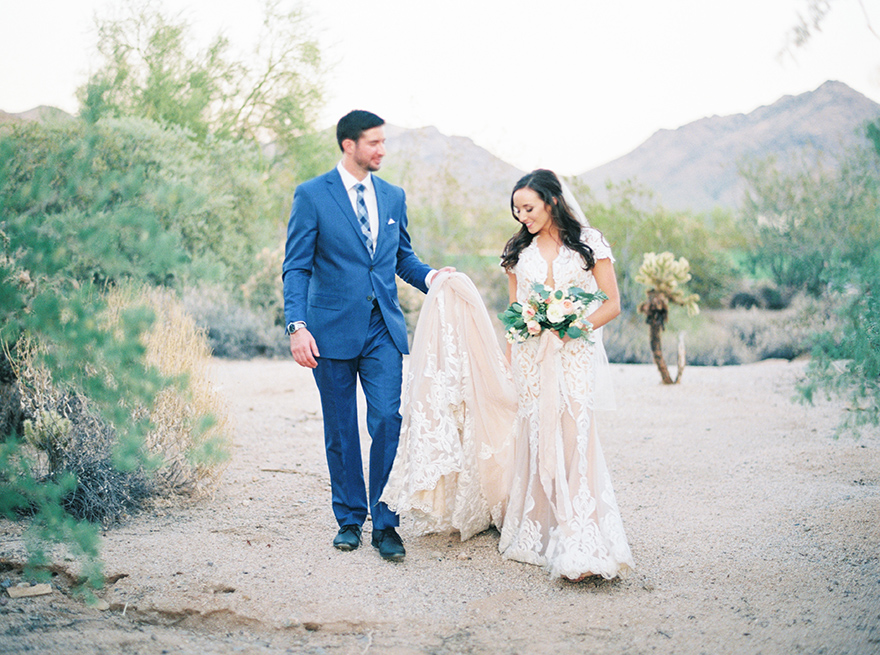 lace wedding gown in the Arizona desert
