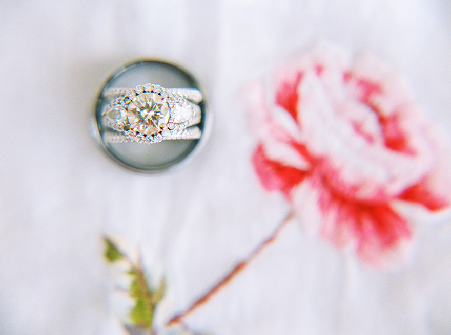 sparkling engagement and wedding ring set with many diamonds