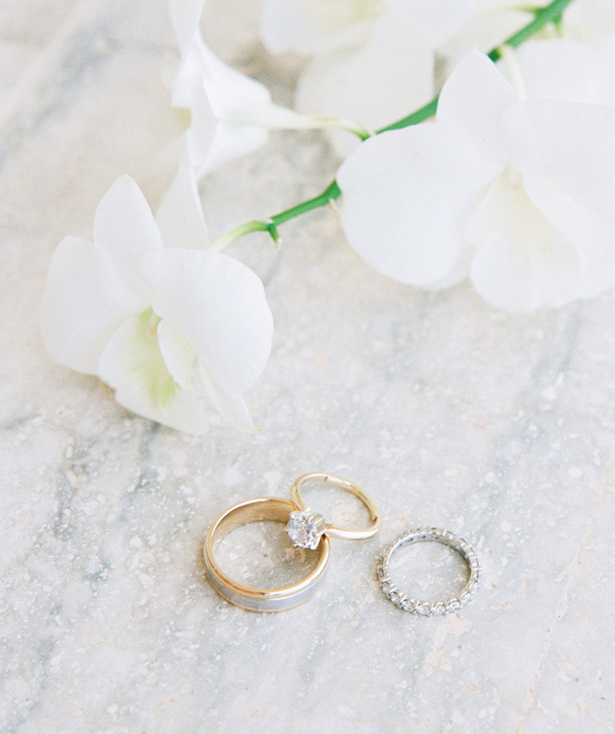 yellow gold solitaire engagement ring & diamond eternity wedding band