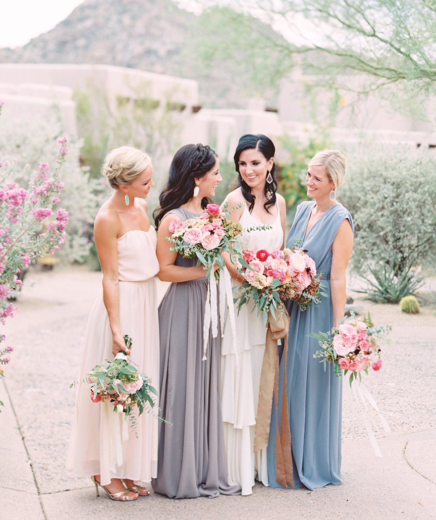 Boho bride & bridesmaids in neutral colors with pink flowers -- Paper Crown dresses