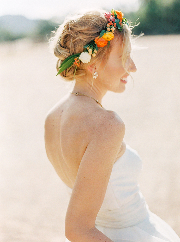 Coral delicate floral wedding crown. Bridal updo hairstyle inspiration loose waves