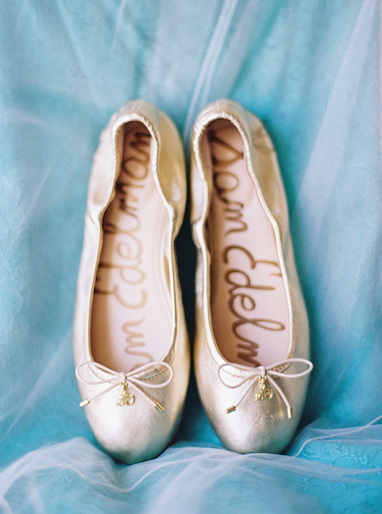 Wedding shoes inspiration and ideas. Sam Edelman gold bridal flats.