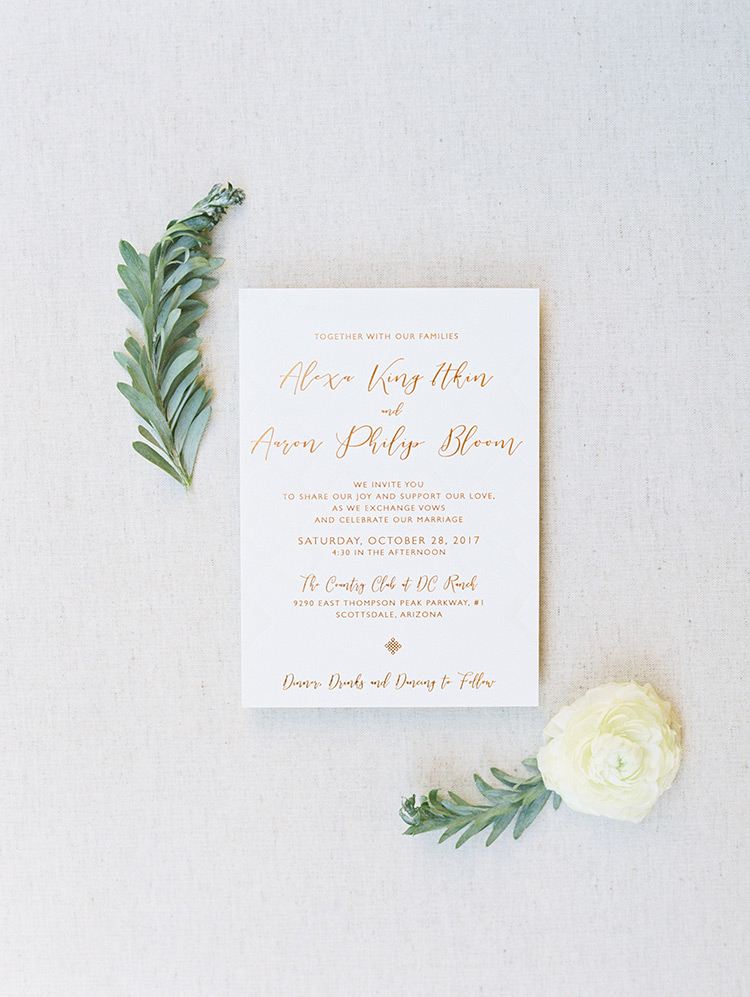 wedding invitation with metallic foil lettering