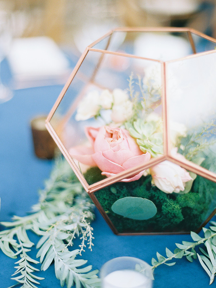 geometric terrarium at wedding reception