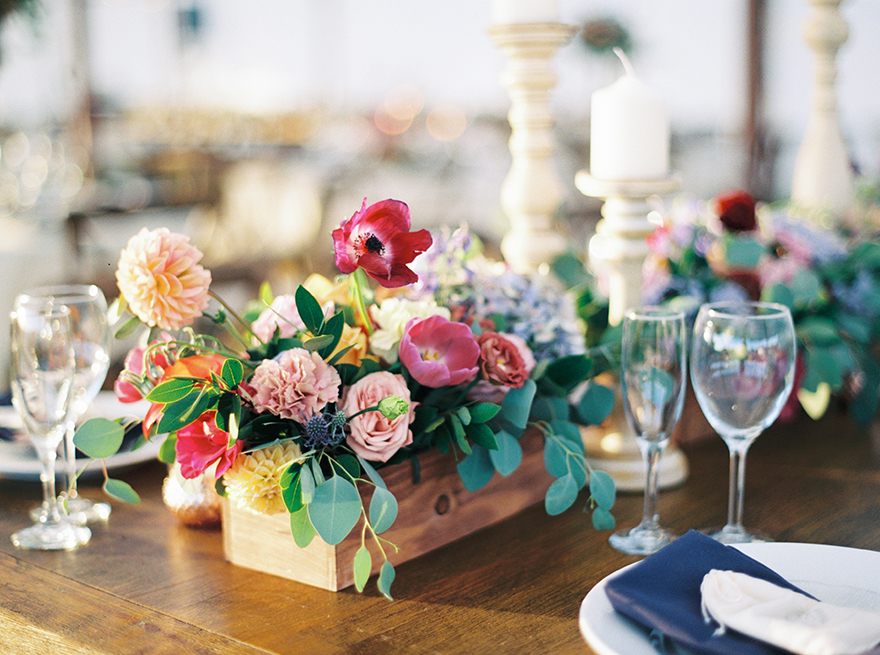 colorful flowers on a reception table