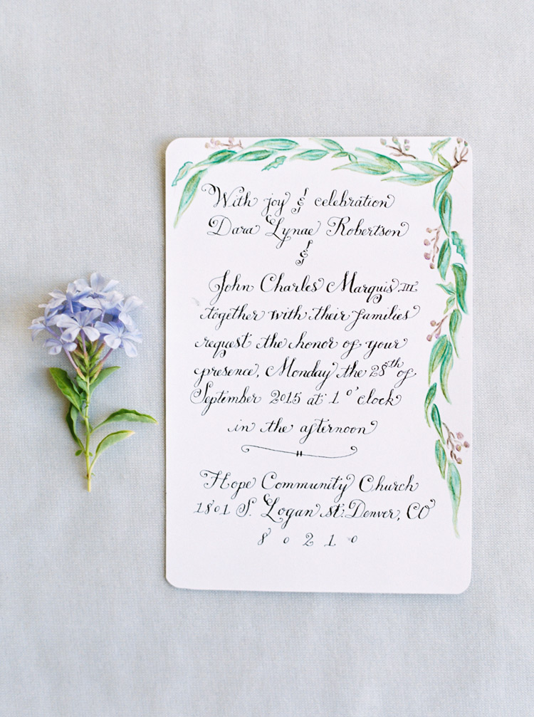 Vintage inspired hand drawn wedding stationary with botanical border. Wedding invitation ideas.