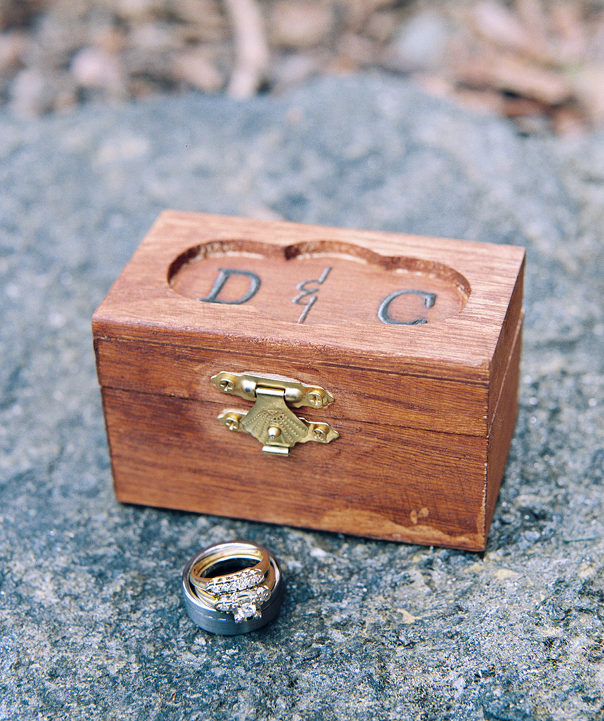 Ring bearer customized engraved wood box for wedding bands and engagement ring.