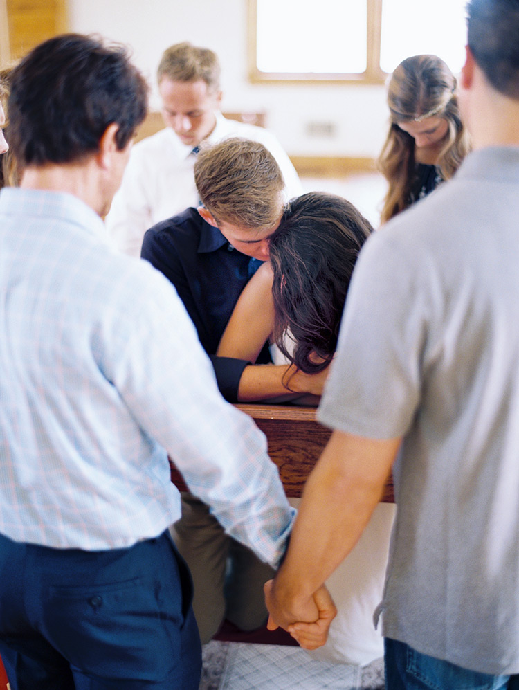 intimate wedding day prayer circle