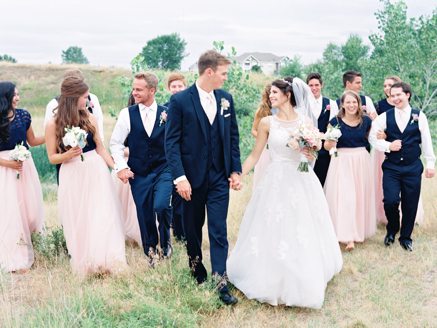 outdoor bridal party photo