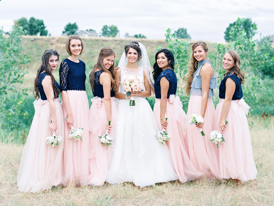 Navy and pink bridal party color scheme