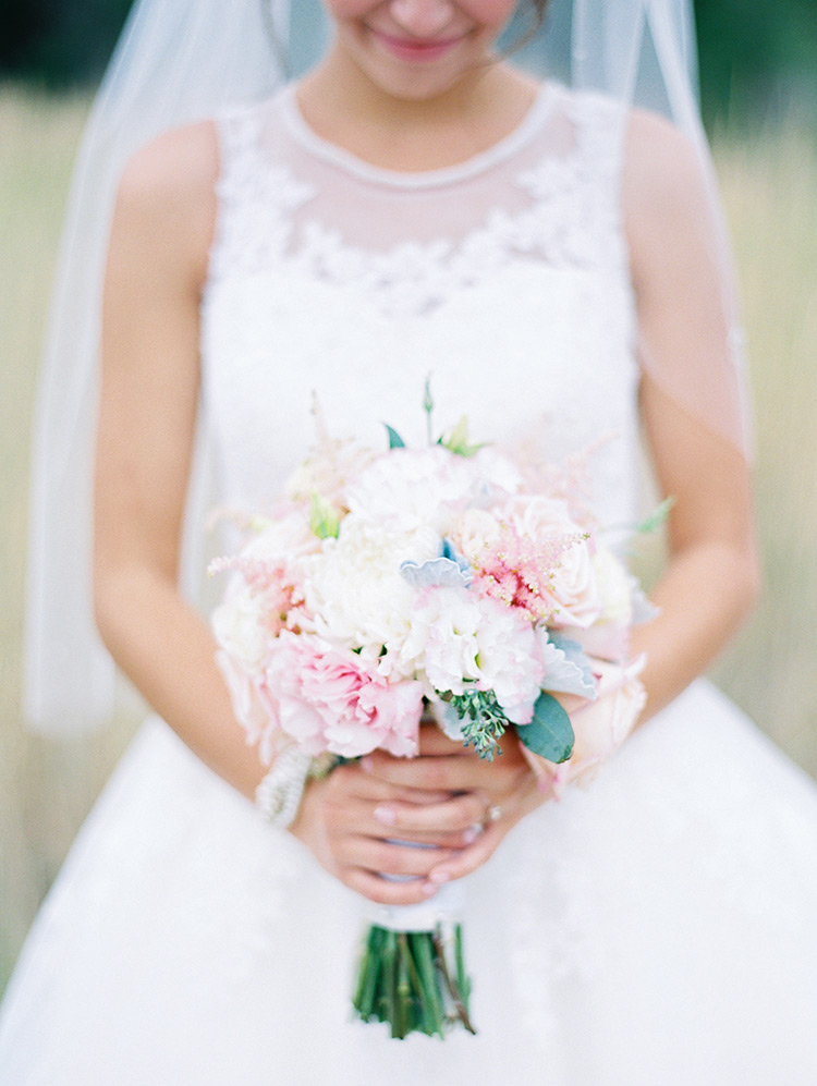 Light pink, white, yellow, wedding bouquet