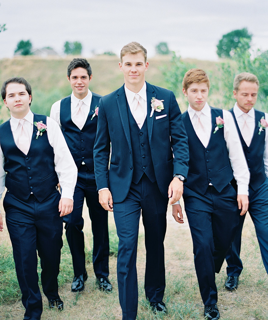 navy and light pink suits for groomsmen