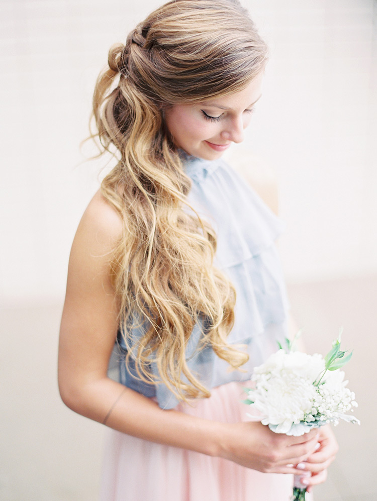 half up half down braided loose curls for bridesmaid