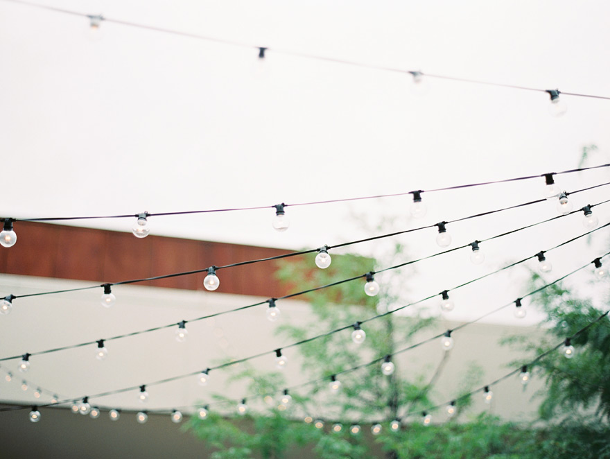 stringed lights for wedding venue