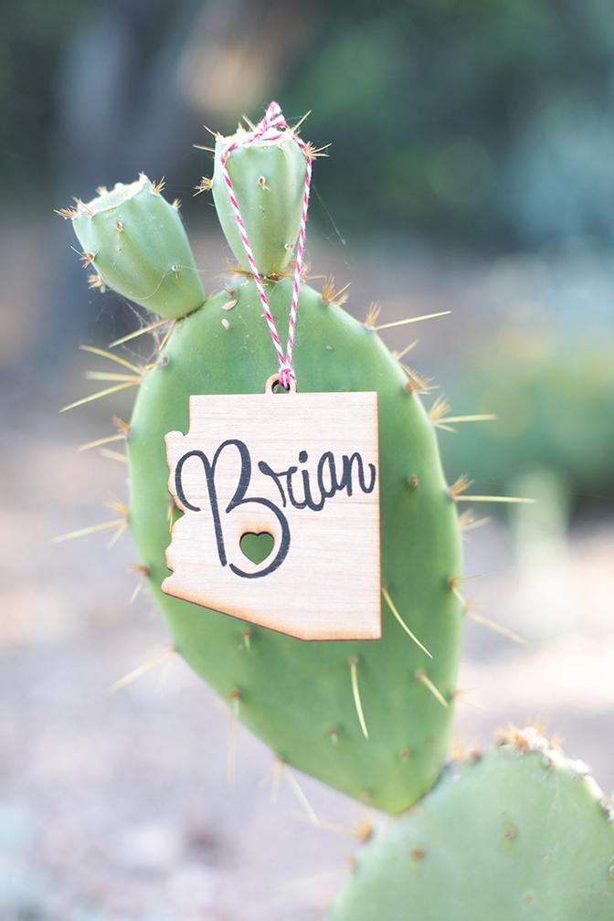 Custom wooden place cards. Desert Botanical Garden wedding.