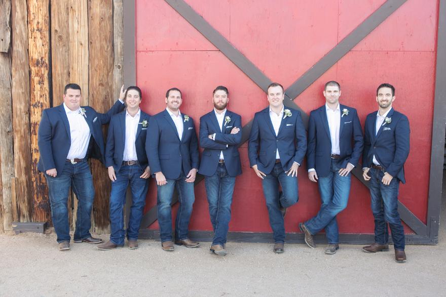 groomsmen in boots & jeans