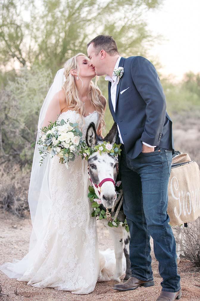 bride & groom with the beer burro