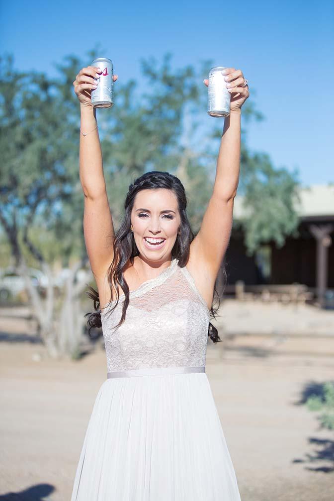 bridesmaid bearing beer