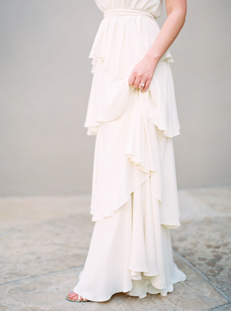 Draped Paper Crown dress designed by Lauren Conrad for a modern bride. Greek-inspired style.