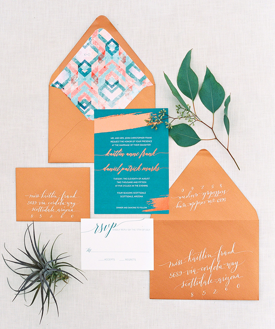 Invitation suite designed by Wiley Valentine. Copper & turquoise modern Southwestern style.