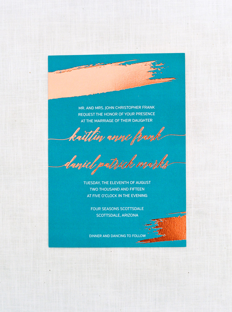 Vivid turquoise & copper invitation. Modern Southwestern style designed by Wiley Valentine